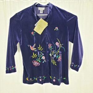 QVC Susan Graver Velvet Embroidered Floral Jacket